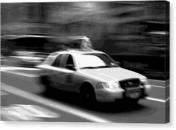 Nyc Taxi Bw16 Canvas Print by Scott Kelley