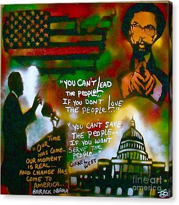 Obama Vs. Cornel Canvas Print by Tony B Conscious