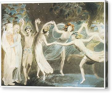 Oberon Titania And Puck With Fairies Dancing Canvas Print by William Blake