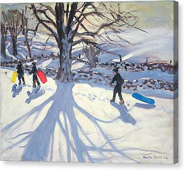obogganers near Youlegrave Canvas Print by Andrew Macara