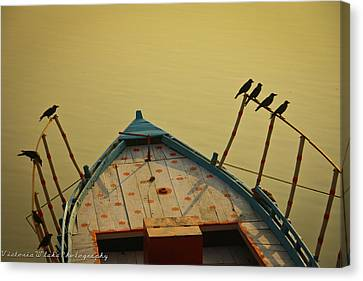 Occupied Boat On Ganges Canvas Print by Www.victoriawlaka.com