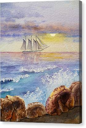Ocean Waves And Sailing Ship Canvas Print by Irina Sztukowski
