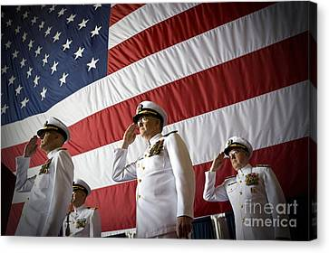Officers Render Honors During A Change Canvas Print by Stocktrek Images