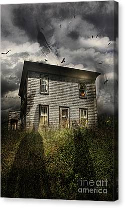 Old Ababdoned House With Flying Ghosts Canvas Print by Sandra Cunningham