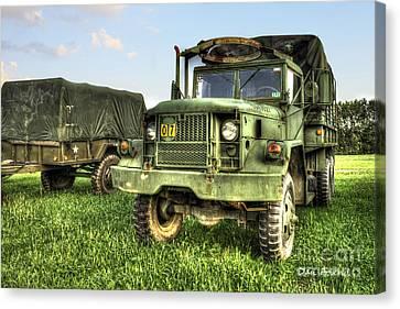 Old Army Truck In Field Canvas Print by Dan Friend