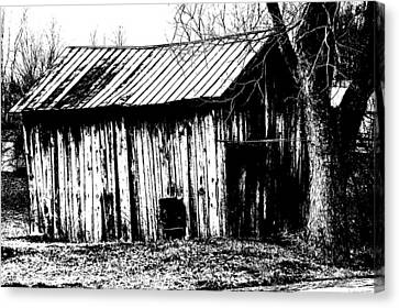 Old Barn In Black And White Canvas Print by Ronald T Williams