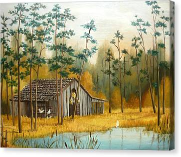 Old Barn With Chickens Canvas Print by Vivian Eagleson