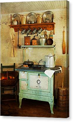 Old Cast Iron Cook Stove Canvas Print by Carmen Del Valle