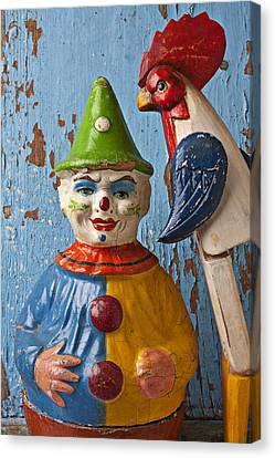 Old Clown And Roster Canvas Print by Garry Gay