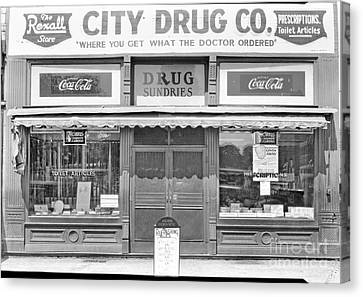 Old Drug Store Circa 1930 Canvas Print by Cris Hayes