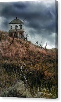 Old Farmhouse With Stormy Sky Canvas Print by Jill Battaglia