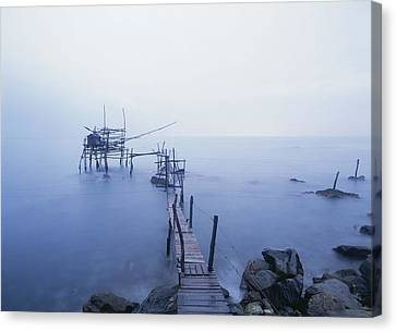 Old Fishing Platform At Dusk Canvas Print by Axiom Photographic