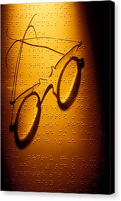 Old Glasses On Braille  Canvas Print by Garry Gay
