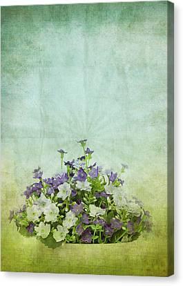 Old Grunge Paper Flowers Pattern Canvas Print by Setsiri Silapasuwanchai