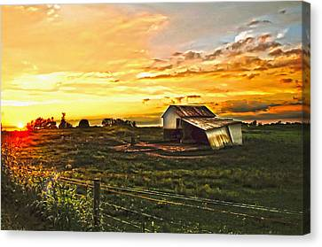 Old Horse Shed At Sundown Canvas Print by Randall Branham