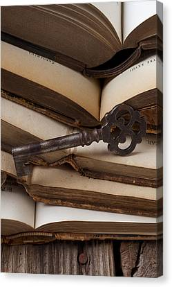 Old Key On Books Canvas Print by Garry Gay