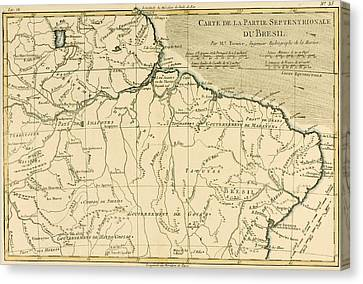 Old Map Of Northern Brazil Canvas Print by Guillaume Raynal