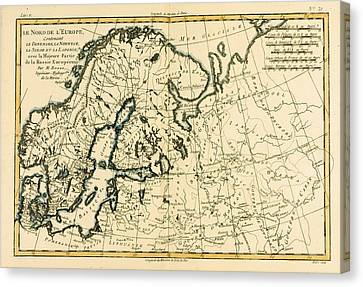 Old Map Of Northern Europe Canvas Print by Guillaume Raynal
