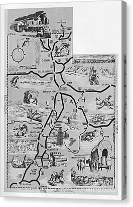 Old Map Of Utah Canvas Print by Juls Adams