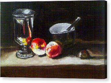 Old Master Still Life Apples And Bowl Canvas Print by Dawn marie  Nabong