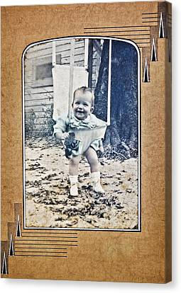 Old Photo Of A Baby Outside Canvas Print by Susan Leggett