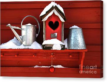 Old Red Birdhouse Canvas Print by Sandra Cunningham