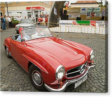 Old Red Mercedes-benz Canvas Print by Odon Czintos