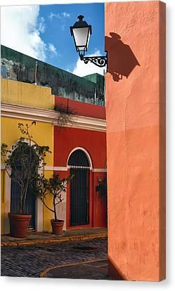 Old San Juan Street Corner Canvas Print by George Oze