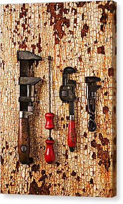 Old Tools On Rusty Counter  Canvas Print by Garry Gay