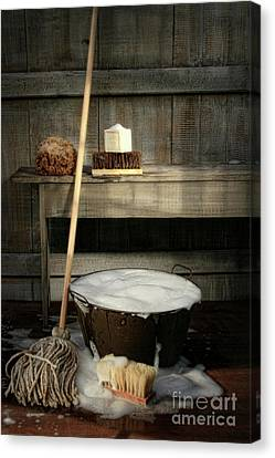 Old Wash Bucket With Mop And Brushes Canvas Print by Sandra Cunningham