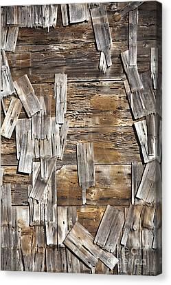Old Wood Shingles On Building, Mendocino, California, Ca Canvas Print by Paul Edmondson