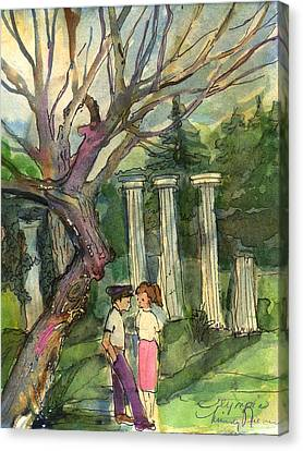 Olympia Greece Romance Canvas Print by Mindy Newman