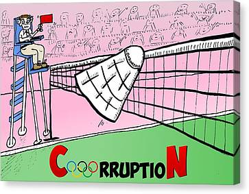 Olympic Corruption Cartoon Canvas Print by Yasha Harari