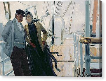 On Deck Canvas Print by Louis Anet Sabatier
