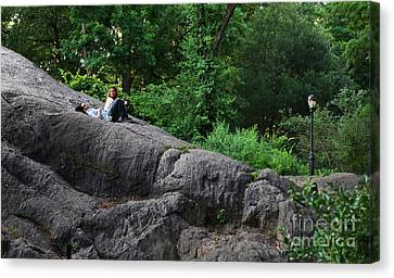 On The Rocks In Central Park Canvas Print by Lee Dos Santos
