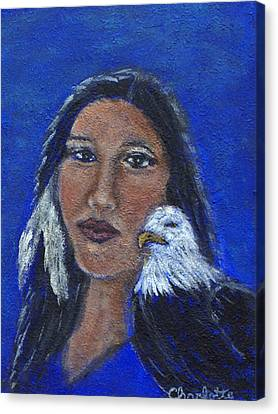 Onawa Native American Woman Of Wisdom Canvas Print by The Art With A Heart By Charlotte Phillips