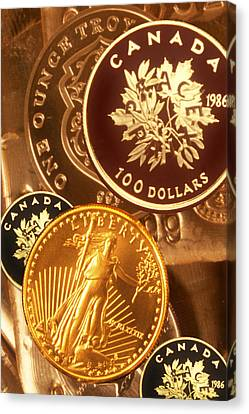 One Troy Ounce Us And Canadian Gold Coins Canvas Print by Lyle Leduc