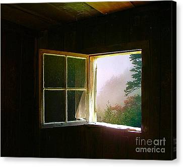 Open Cabin Window In Spring Canvas Print by Julie Dant
