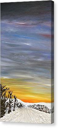 Open Road With Snow Canvas Print by Becky Wheeler