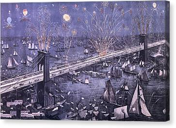 Opening Of The Great New York And Brooklyn Bridge And Grand Display Of Fire Works Canvas Print by American School