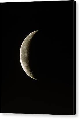 Optical Image Of A Waning Crescent Moon Canvas Print by John Sanford