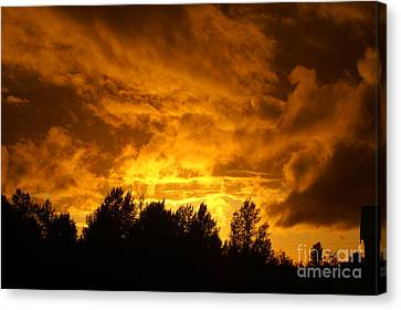 Orange Stormy Skies Canvas Print by Randy Harris
