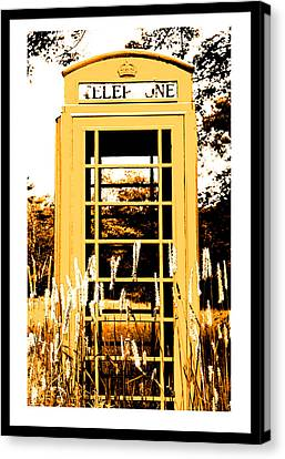 Orange Telephone Booth In The Field Canvas Print by Kara Ray