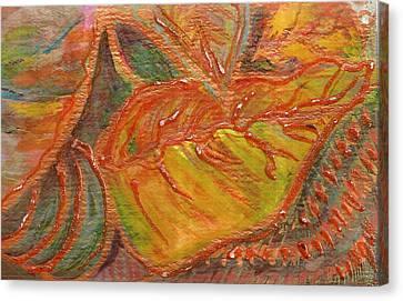 Orange You Glad I Painted Orange Leaf Canvas Print by Anne-Elizabeth Whiteway