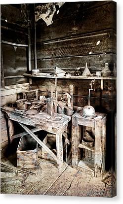 Ore Assay Shop Work Bench - Molson Ghost Town Canvas Print by Daniel Hagerman