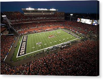Oregon State Night Game At Reser Stadium Canvas Print by Oregon State University