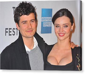 Orlando Bloom, Miranda Kerr At Arrivals Canvas Print by Everett