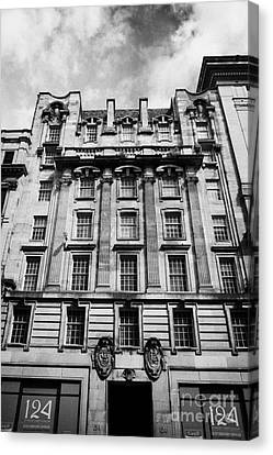Ornate Facade Of 124 St Vincent Street Refurbished Into Modern Office Space Glasgow Scotland Uk Canvas Print by Joe Fox