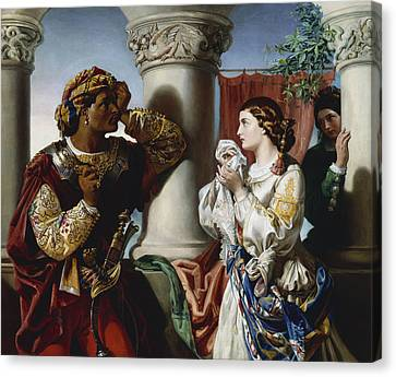 Othello And Desdemona Canvas Print by Daniel Maclise