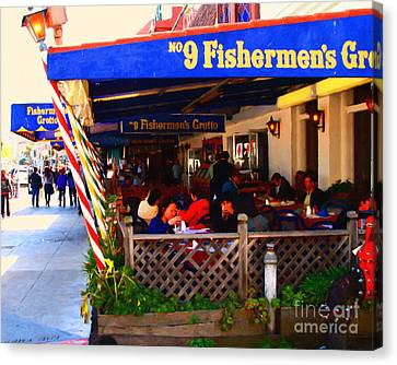 Outdoor Dining At The Fishermens Grotto Restaurant . Fisherman.s Wharf . San Francisco California Canvas Print by Wingsdomain Art and Photography